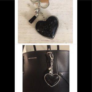 Puffy Black Heart Keychain/Purse Charm🖤